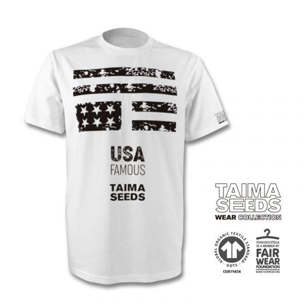 Camiseta U.S.A. FAMOUS blanca de taima seeds